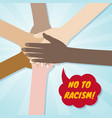 hands of different races together in a circle no vector image vector image