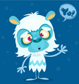 Happy cartoon bigfoot with speech bubble vector image vector image
