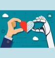 human hand and a robot holding heart vector image