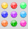 Palm icon sign symbol on nine wavy colourful vector image