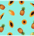 papaya with pineapple background vector image vector image