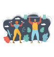 people doing exercises vector image