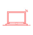 red linear laptop isolated on white vector image vector image