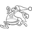 running santa cartoon coloring page vector image vector image