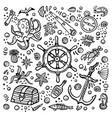 sea adventures template marine hand drawn vector image vector image