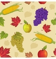 Seamless background with leaf apple grapes corn vector image vector image