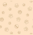seamless pattern with pet pawprints and balls vector image vector image