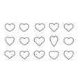 set heart icon hearts shape different design vector image