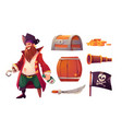 set icons pirate and ship equipment vector image