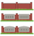 set of manor or garden brick fences decorated vector image vector image