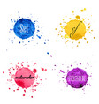 set watercolor hand draw splash background vector image