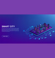 smart city automation from smartphone concept of vector image