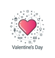 Valentines day flat line heart vector image vector image