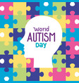 world autism day with head silhouette in puzzle vector image vector image