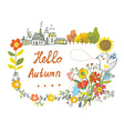 Hello autumn graphic card with flowers bird and vector image