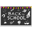 Blackboard with many school icons vector image