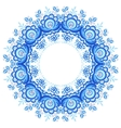 Blue floral round frame in gzhel style vector image vector image