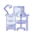 blue shading silhouette of desk home with chair vector image