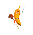 brave banana cartoon character riding on stick vector image vector image