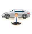 businessman yoga meditation with pack dollars vector image