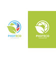 camera shutter and leaf logo combination