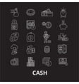 cash editable line icons set on black vector image vector image