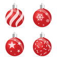 christmas ball red with decor on it vector image vector image