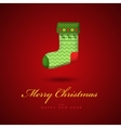Christmas bright green gift sock Red vector image vector image