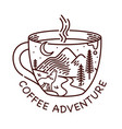 coffee adventure line vector image vector image