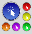 Cursor icon sign Round symbol on bright colourful vector image