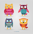 cute artistic owls set vector image vector image