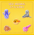 cute cartoon sea animals on sticker vector image vector image