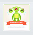 cute funny green monster loudly crying happy vector image vector image