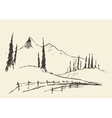 Drawn landscape hills rural road sketch vector image vector image