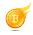flaming bitcoin symbol icon sign emblem vector image