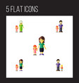 flat icon family set of son grandchild mother vector image vector image