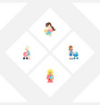 flat icon parent set of perambulator child kid vector image vector image