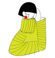 girl wearing yellow knitted sweater basic rgb on vector image vector image