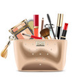 golden cosmetic bag with cosmetics vector image