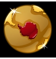 golden globe with marked greenland countries vector image