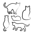handdrawn cats silhouette design set vector image