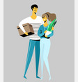 happy cheerful couple man and woman vector image