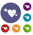 heart with arrow icons set vector image
