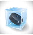 Ice cube with hockey puck vector image vector image