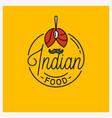 indian food logo round linear turban vector image