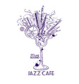Jazz cafe concept with musical instruments in a vector image vector image