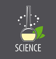 logo test tube with liquid and leaves vector image vector image