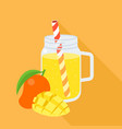 mango smoothie in mason jar flat design vector image vector image