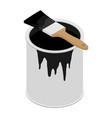 metal paint can with black paint and paintbrush vector image