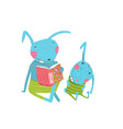 mom or dad rabbit with cute cub studying homework vector image vector image